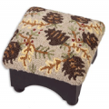 Cabin Place: $20 Off Beige Pinecones Hooked Wool Footstool