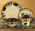 Cabin Place: $70 Off Black Bear Forest 4 Place Setting, 16 Piece Dinnerware Set