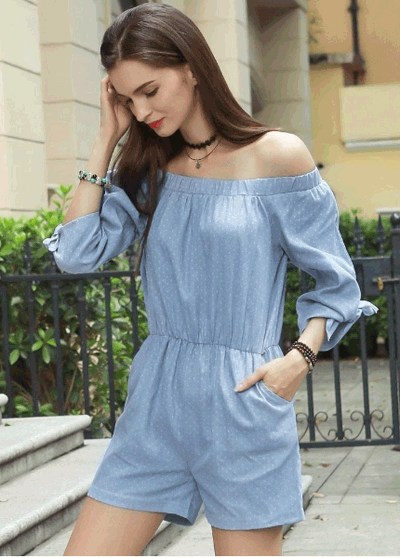 Chicuu: 59% Off Off Shoulder Dot Elastic Waist Pockets Rompers