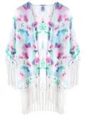 Chicuu: 30% Off Vintage Floral Print Tassel Fringe Sheer White Chiffon Kimono