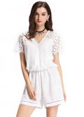 Chicuu: 30% Off V Neck Short Sleeve White Romper