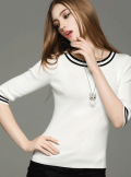 Chicuu: 28% Off Contrast Color O-Neck Slim Casual Elegant Short Sleeve Sweater