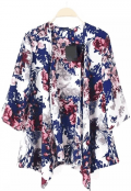Chicuu: 20% Off Vintage Floral Print Batwing 3-4 Sleeve Irregular Hem Chiffon Kimono