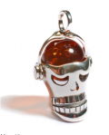 Henryka: £77 For Amber & Silver Skull Head Pendant With Silver Chain CH4/006