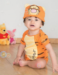 Little Ratbag: Tigger - Disney Baby Costume, Jersey Bodysuit With Hat Only For £12