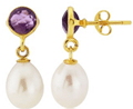 Argent Of London: Amethyst Stud Earrings With Drop Pearl For £88
