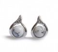 Henryka: Silver Leaf Stud Earrings With Agate Sphere As Low As £19