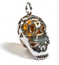 Henryka: £78 For Amber & Silver Fancy Skull Pendant With Silver Chain CH4/006