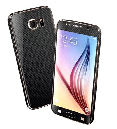 EasySkinz: Samsung Galaxy S6 MICRO 3D CARBON Fibre Skin - BLACK For £11.03