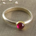 Argent Of London: Faceted Tourmaline Ring Set In 18CT Gold On Silver Band