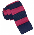 DQT: Knitted Hot Pink & Navy Striped Tie £8.99