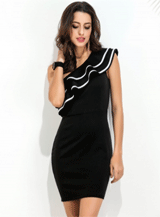 Achicgirl: 35% Off Women's One Shoulder Sleeveless Ruffle Bodycon Dress