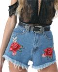 Achicgirl: 37% Off Women's High Waist Floral Embroidered Fringed Denim Shorts