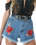 Achicgirl: 37% Off Women's High Waist Floral Embroidered Fringed Denim Shorts