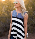 Azbro: Fashion Sleevleess Striped Loose Fit Tank