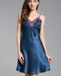 Azbro: Pure Mulberry Silk Lace Trim Slip Nightgown
