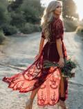 Azbro: Deep V Neck Short Sleeve High Waist Lace Prom Dress