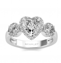 Amarley: Heart Cut White CZ Cubic Zirconia Halo Ring