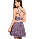 Azbro: 60% Off Sleeveless Floral Print Backless Flare Dress