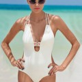 SWIMHONEY: 45% Off  Deep V Halter Backless One Piece Swimsuit