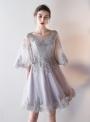 Weroa: 30% Off Women's Elegant Round Neck Flare Sleeve Lace Bidesmaid Prom Dress